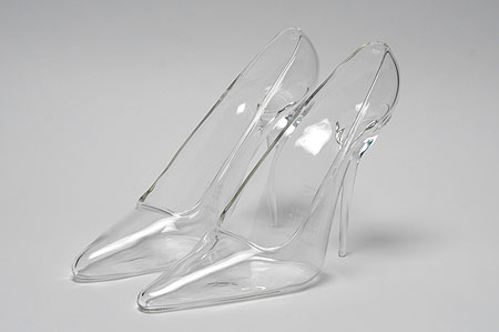 glass high heel slippers